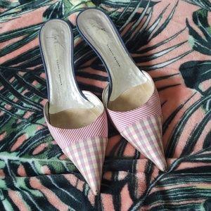 GIUSEPPE ZANOTTI Plaid Mule Heels Size 7 1/2